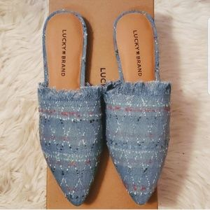 Brand New Lucky Brand Light Denim Bapsee Mule